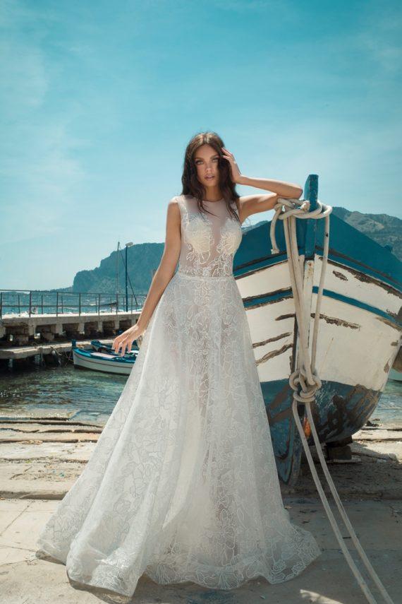 Dominiss Oscar csillogós menyasszonyi ruha
